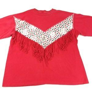Vintage Fashion Gear Women's XL Red Glitter Top